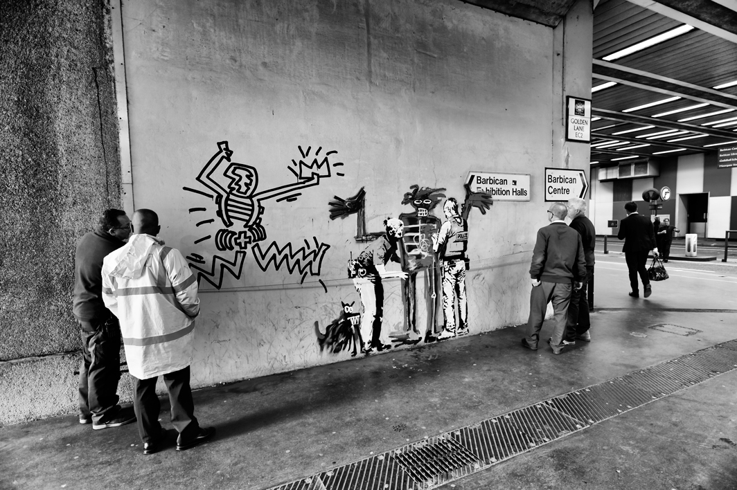 New artworks by Banksy at the Barbicancentre in central London.